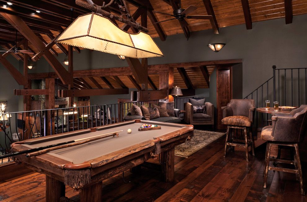 Rawhide Ranch for a Rustic Family Room with a Billiard Table and Rustic Family Room by denisestringerinteriordesign.com