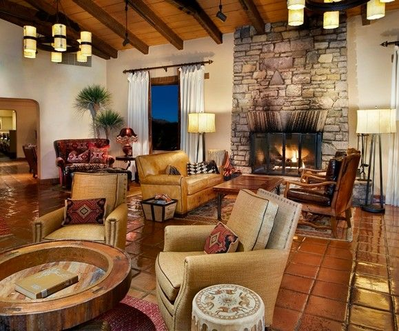 Rawhide Ranch for a Southwestern Living Room with a Saltillo Tile and Canyon Ranch   Tucson, Az by Sunset Interiors & Design Studio