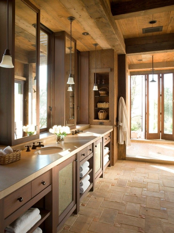 Reclaimed Wood San Diego for a Rustic Bathroom with a Wall Cutout and Napa Wine Country by John K. Anderson Design