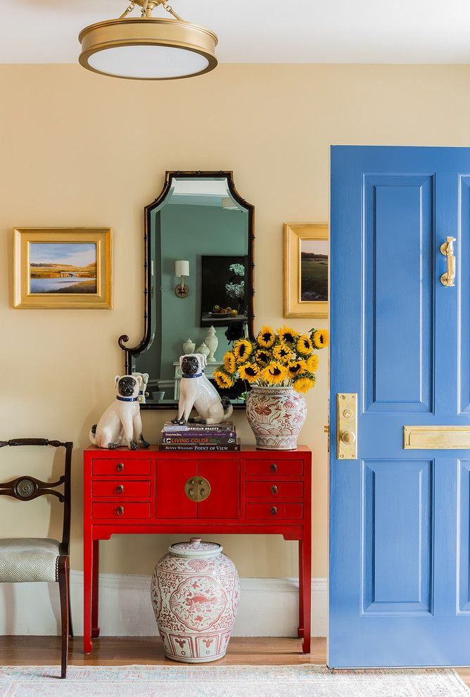 Restoration Hardware Boston for a Traditional Entry with a Sunflowers and This Old House, Charlestown Greek Rival Row House by K.marshall Design Inc.