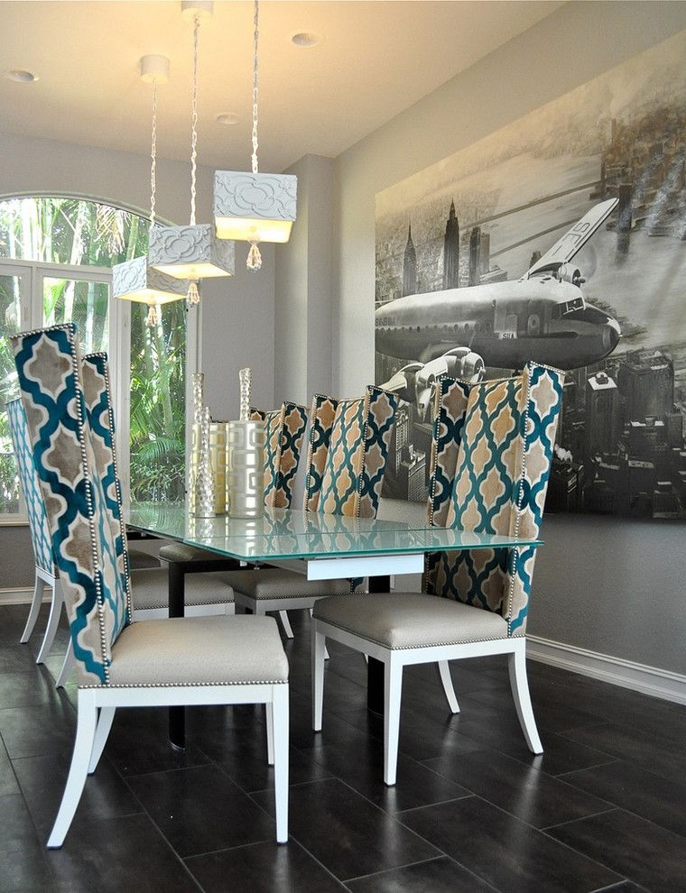 Reupholstering a Chair for a Contemporary Dining Room with a Baseboard and Dining Room by Tran + Thomas Design Studio