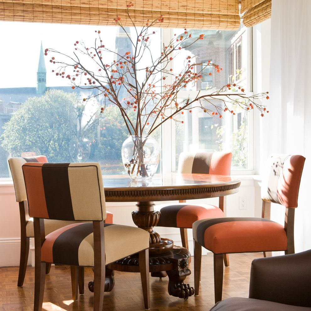 Reupholstering a Chair for a Traditional Dining Room with a Bamboo Blinds and City Apartment by Gary Mcbournie Inc.