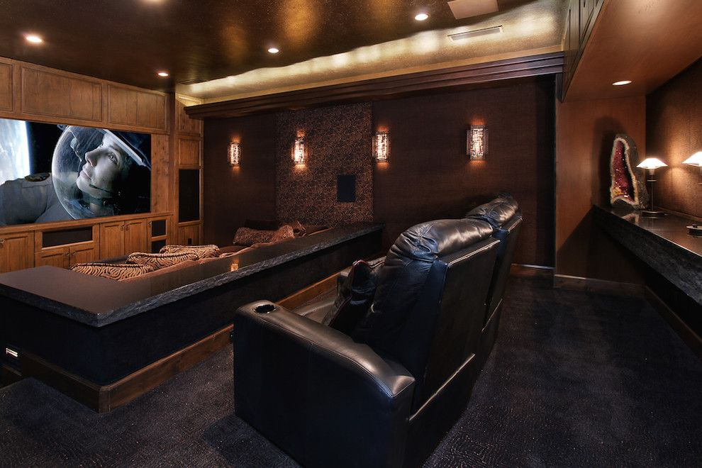 Rio Rancho Theater for a Eclectic Home Theater with a Theater and Rancho Mirage Residence by Lori Tiedeman Interiors