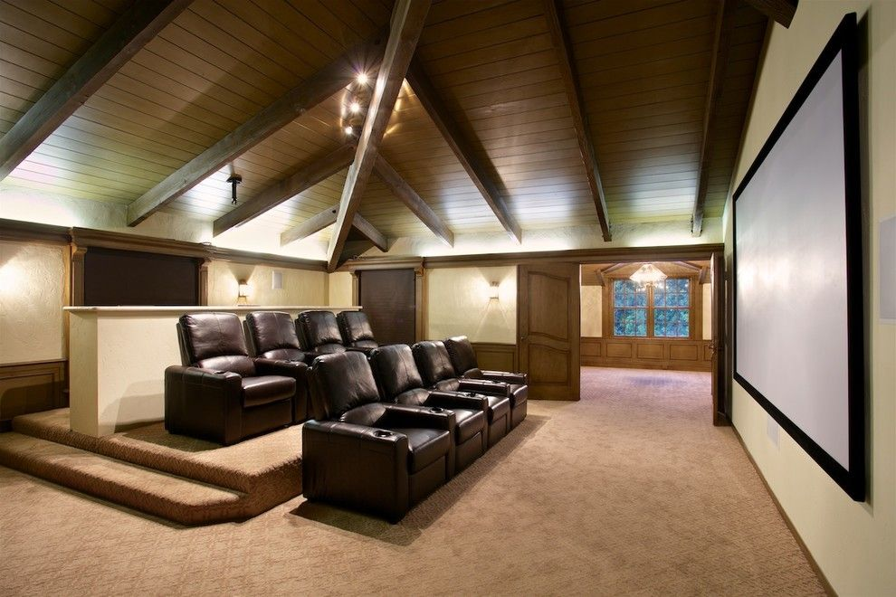 Rio Rancho Theater for a Transitional Home Theater with a Spa and via De Fortuna - the Coventant in Rancho Santa Fe by CHPT Construction