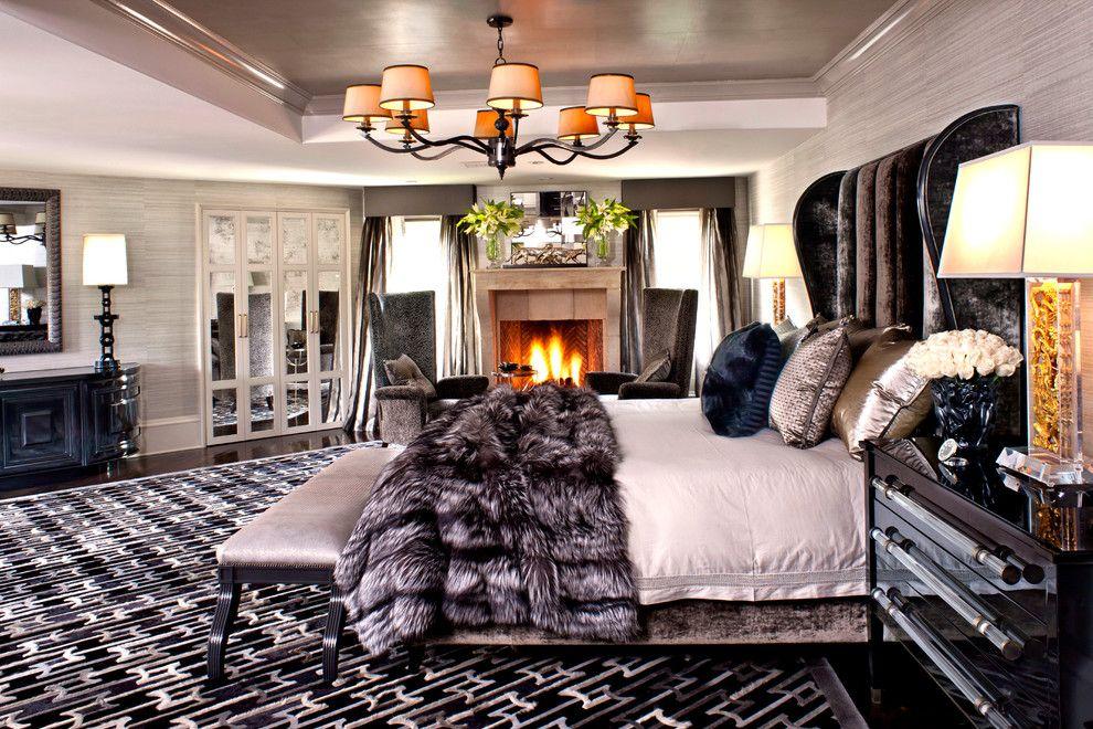 Romo Fabrics for a Contemporary Bedroom with a Tray Ceiling and Contemporary Bedroom by Jeffandrews design.com