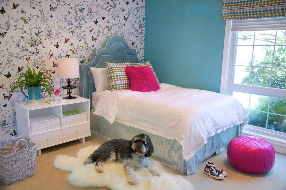 Romo Fabrics for a Traditional Kids with a White Bedding and Encino Girl's Bedroom by Jac Interiors