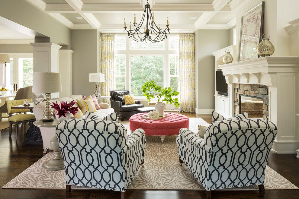 Romo Fabrics for a Transitional Living Room with a Vase and Minnesota Residence by Martha O'hara Interiors