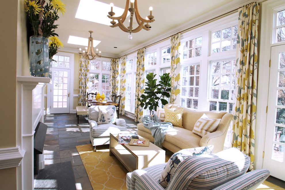 Romo Fabrics for a Transitional Sunroom with a Yellow Flowers and Living Spaces by Lucy and Company