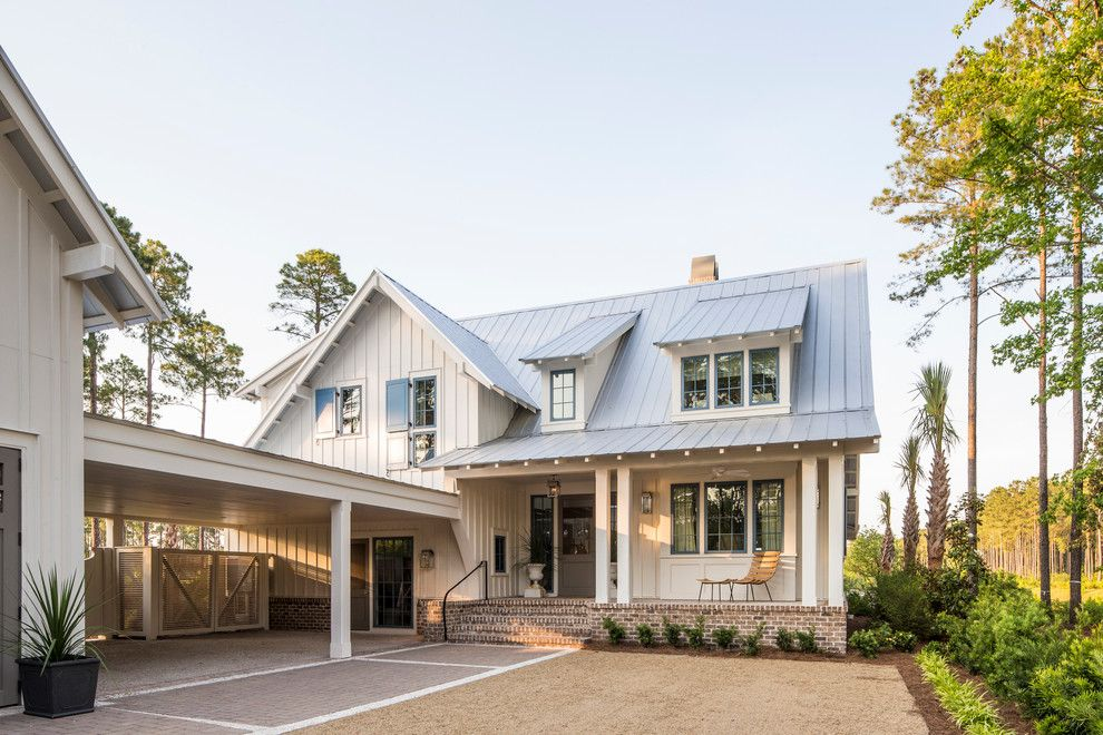 Roof Pitches for a Farmhouse Exterior with a Blue Shutters and Southern Living Photos by Southern Living