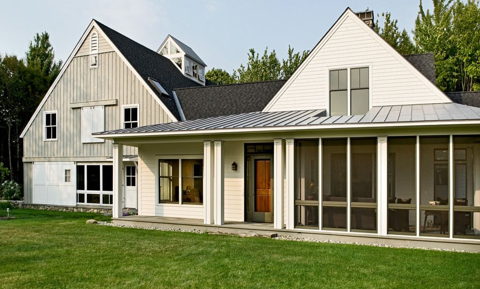 Roof Pitches for a Farmhouse Exterior with a Porch and South Facade by Whitten Architects