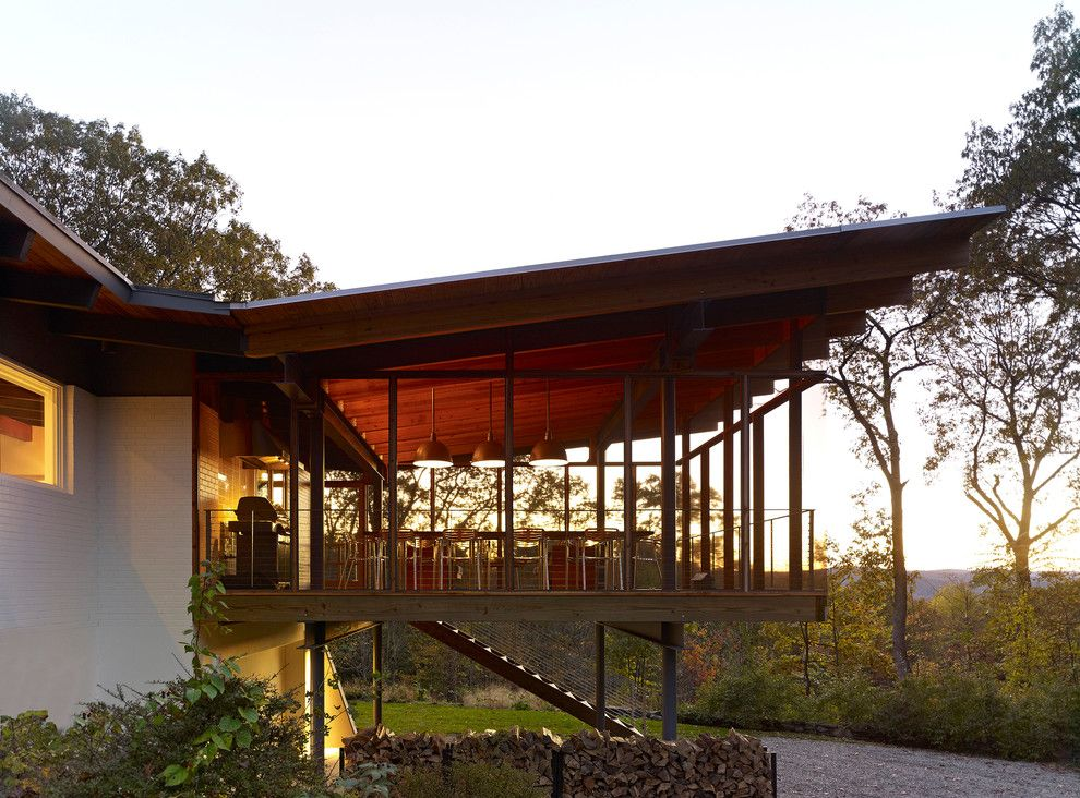 Roof Pitches for a Midcentury Porch with a Sloped Roof and Paradise Lane, New Milford, CT by Billinkoff Architecture PLLC