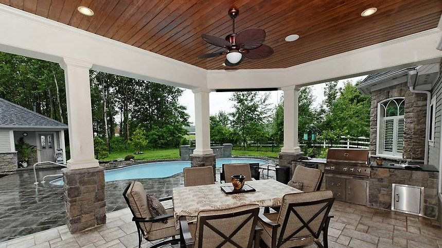 Roof Pitches for a Traditional Patio with a Outdoor Kitchen and Collection by Viscusi Builders Ltd.