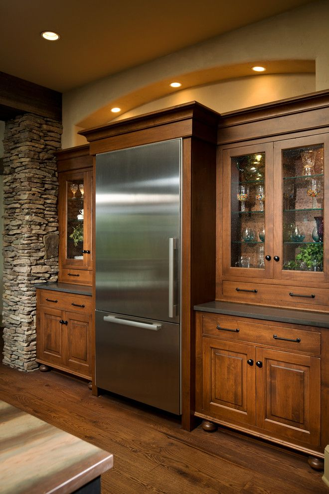 Rosewood Homes for a Rustic Kitchen with a Frameless Cabinetry and 2014 Parade of Homes   Pinnacle Home Winner – Best Kitchen by Columbia Cabinets