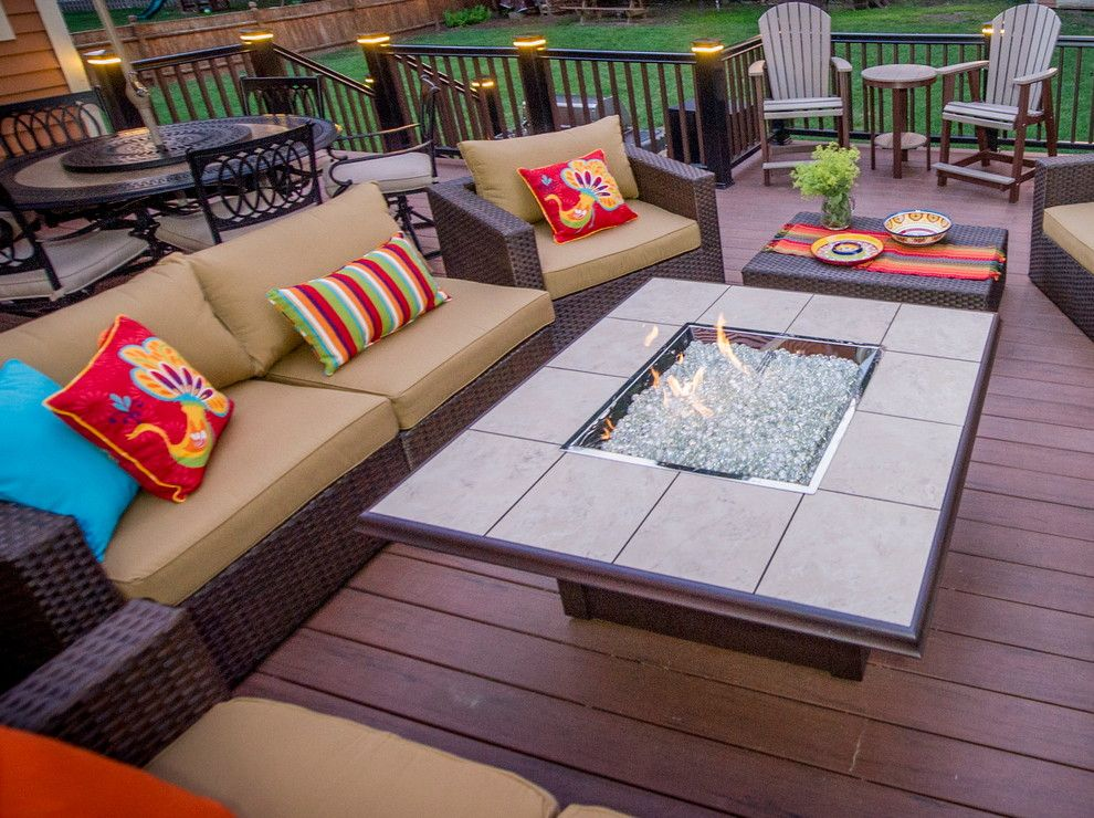 Sam Levitz Furniture for a Modern Deck with a Red Accents and Clifton Park Deck by Bespoke Decor