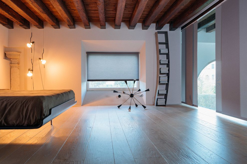 Sapele Wood for a Contemporary Bedroom with a Hanging Lights and the Shade Store by the Shade Store