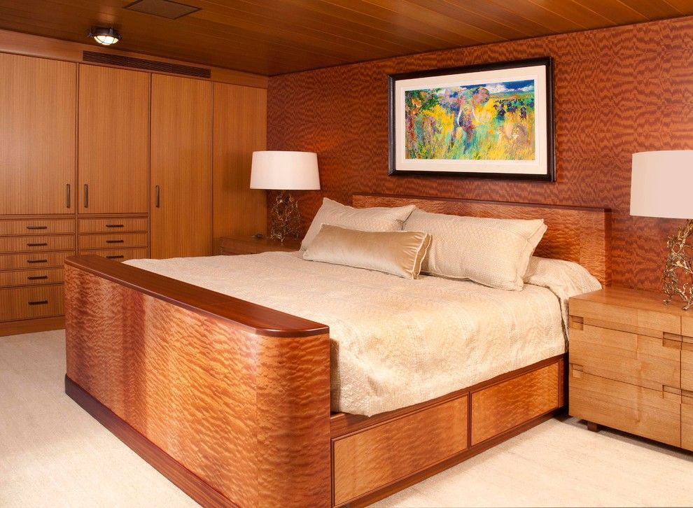 Sapele Wood for a Contemporary Bedroom with a Stained Wood and Lake Union Floating Home 2 by G Little Construction