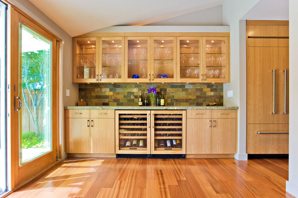 Sapele Wood for a Modern Kitchen with a Leather Granite and Bay Area Custom Cabinetry by Bill Fry Construction   Wm. H. Fry Const. Co.