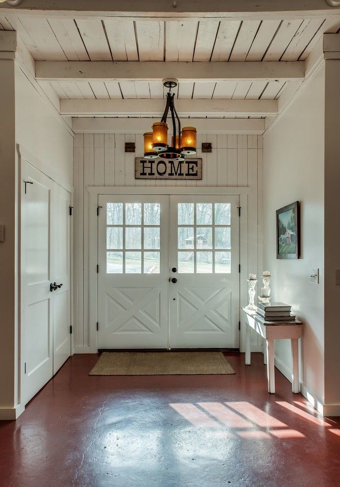 Southeastern Furniture for a Farmhouse Entry with a Chandelier and Vlc International Designs by Vlc International