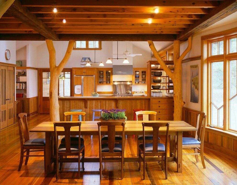 Southeastern Furniture for a Rustic Dining Room with a Birdhouse and Dining by Brilliant! Lighting & Design