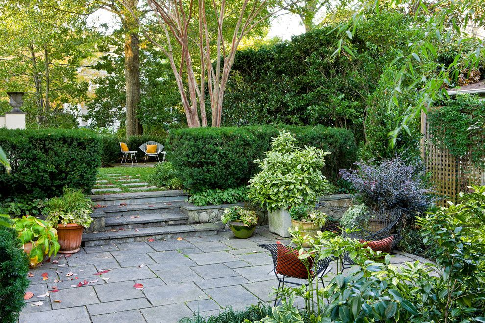 Southeastern Furniture for a Traditional Landscape with a Stone Stairs and an Arlington Residence by Scott Brinitzer Design Associates