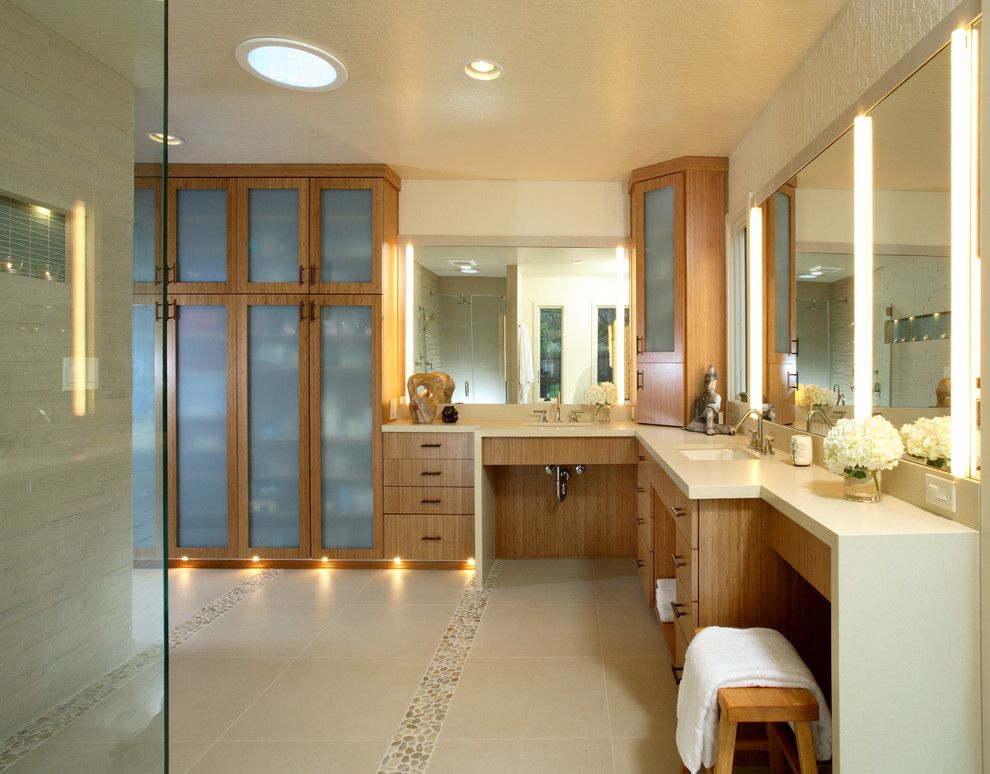 Speedy Auto Glass for a Contemporary Bathroom with a Dressing Table and Alhambra Valley Residence by Altera Design & Remodeling, Inc.