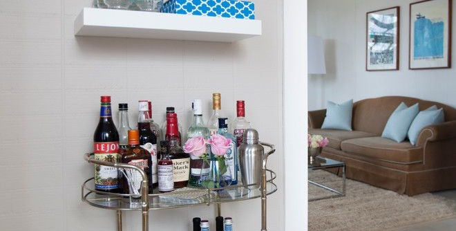 Speedy Auto Glass for a Contemporary Home Bar with a Floating Shelves and Queen Anne Two Bedroom by Maggie Stephens Interiors