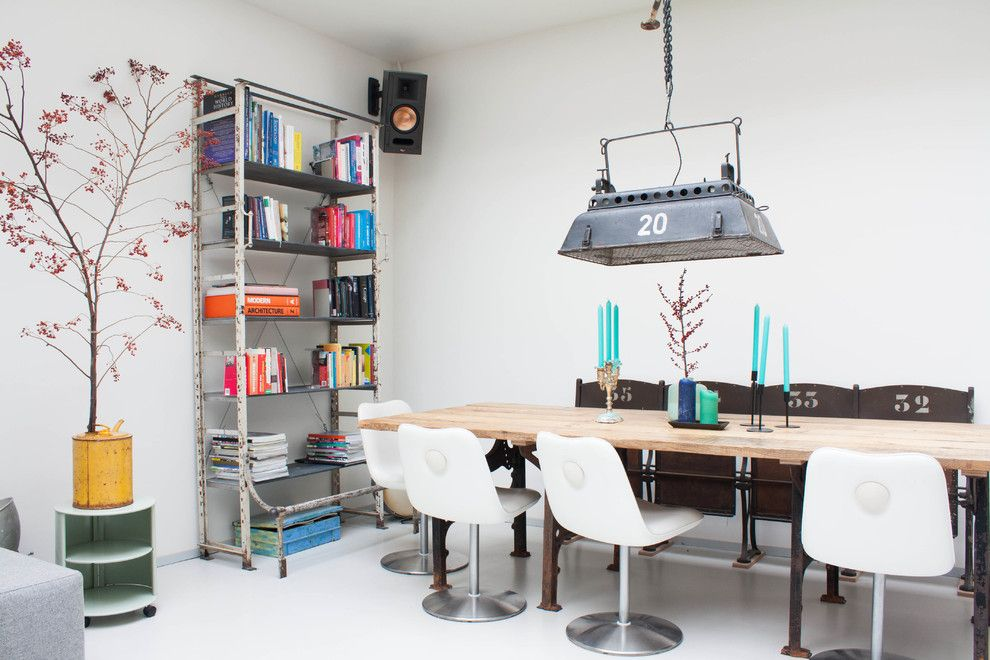 Stadium Lofts Anaheim for a Eclectic Dining Room with a Skylight and My Houzz: A Dark Storage Space Transformation to a Crisp White Loft by Louise De Miranda