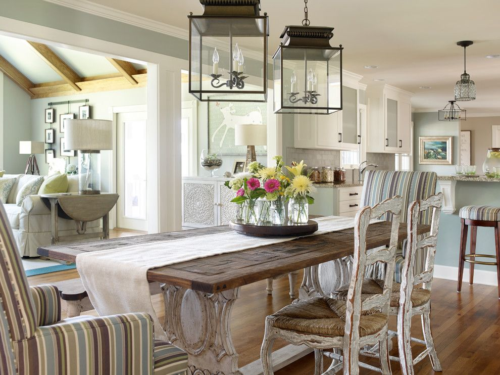 Suzanne Kasler for a Beach Style Dining Room with a Farmhouse Dining Table and Beautiful Interiors by Verge Painting & Siding