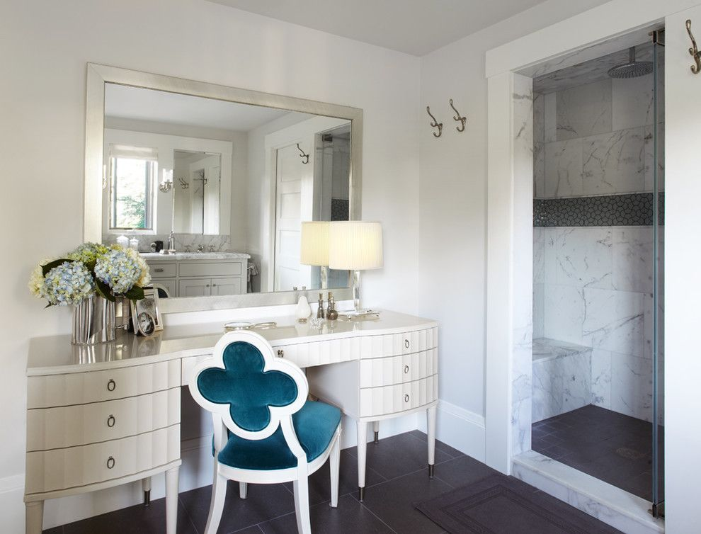 Suzanne Kasler for a Contemporary Bathroom with a Clear Glass Shower Door and Master Bath Dressing Table by Maya Design Studio