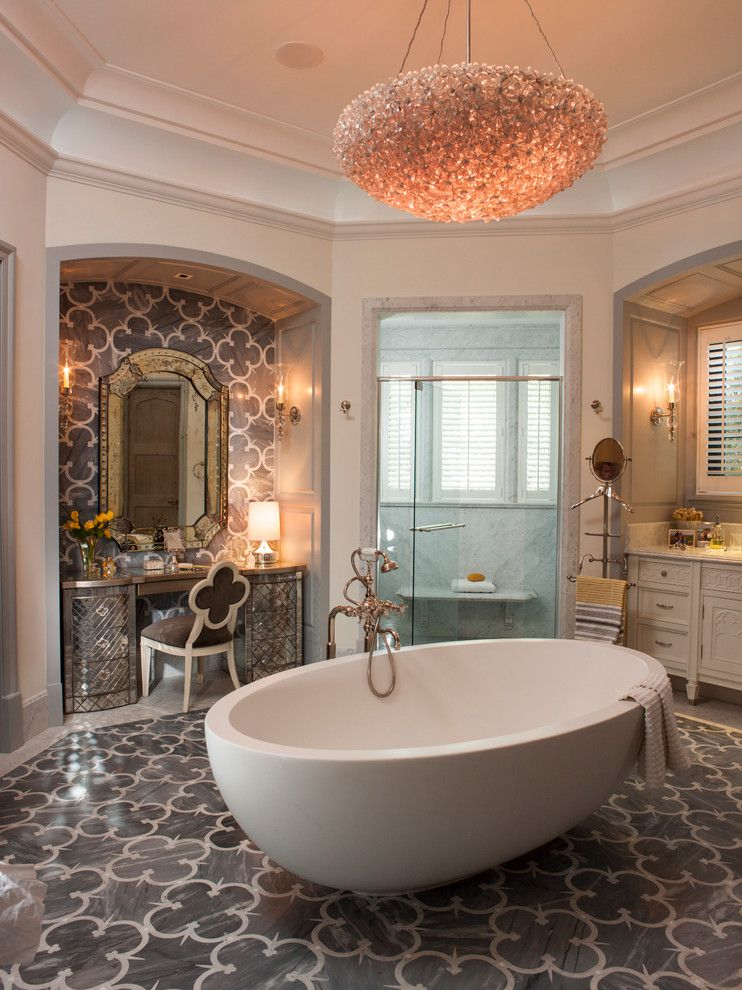 Suzanne Kasler for a Mediterranean Bathroom with a Tall Ceilings and Fort Lauderdale Residence by Marble Crafters