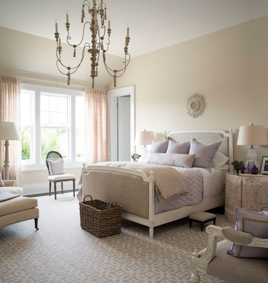 Suzanne Kasler for a Traditional Bedroom with a Chandelier and Traditional Home Hampton Designer Showhouse Bedroom by Kate Singer Home