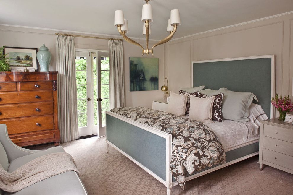Suzanne Kasler for a Transitional Bedroom with a French Doors and Bedroom Transitional by Jeneration Interiors