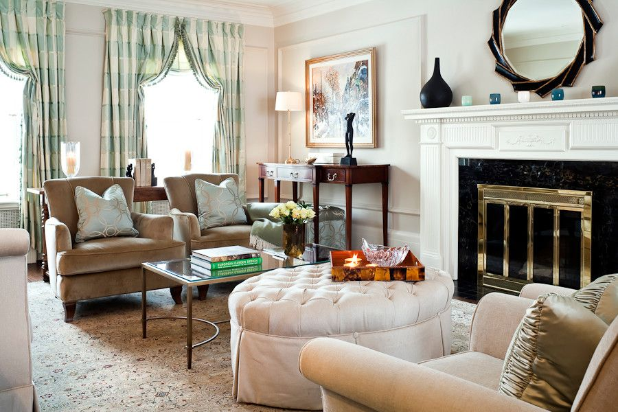 Ted Baker Nordstrom for a Traditional Living Room with a Tufted Ottoman and Timeless Beauty by Kimberley Seldon Design Group
