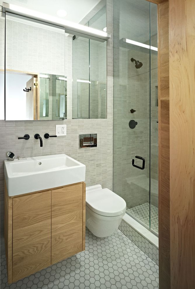 Toilet Paper Holder Height for a Contemporary Bathroom with a Wall Mount Faucet and East Village Studio by Jordan Parnass Digital Architecture