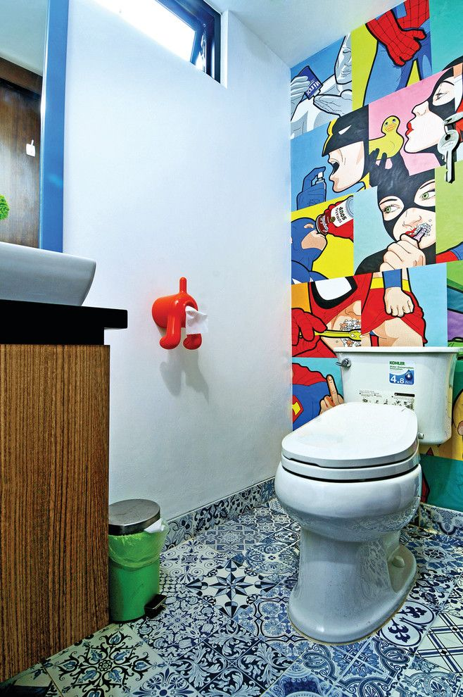 Toilet Paper Holder Height for a Contemporary Powder Room with a Union Jack and Urban Pop House by Vindo Design
