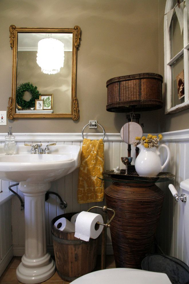 Toilet Paper Holder Height for a Eclectic Bathroom with a Metal Urn and My Houzz: Meaghan and Trevor: Welland, on by Esther Hershcovich
