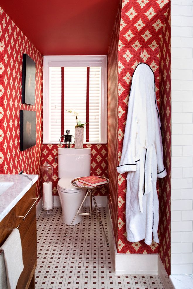 Toilet Paper Holder Height for a Eclectic Bathroom with a Wallpaper and Small Bathroom Renovation by Christopher Patrick Interiors