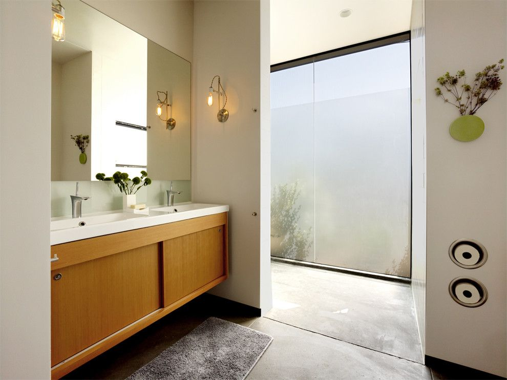 Toilet Paper Holder Height for a Modern Bathroom with a Vanity and Hydeaway House by Schwartz and Architecture