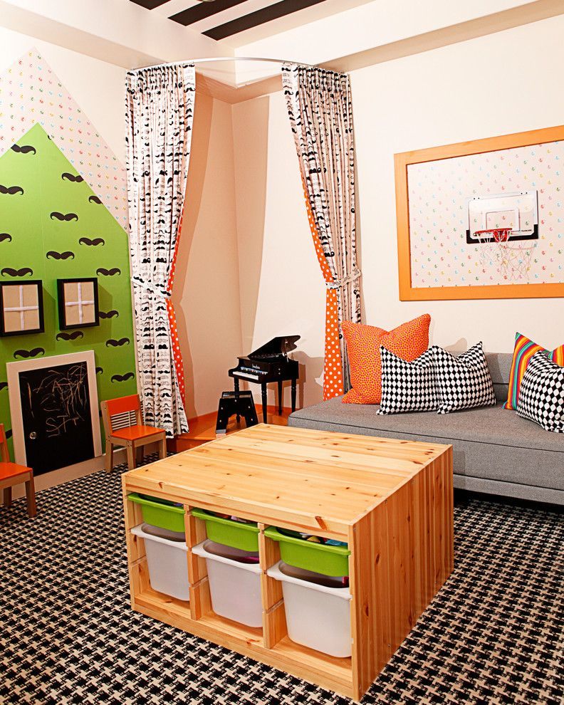Trofast Ikea for a Contemporary Kids with a Basketball Hoop and Playroom by Mary Meinz Design