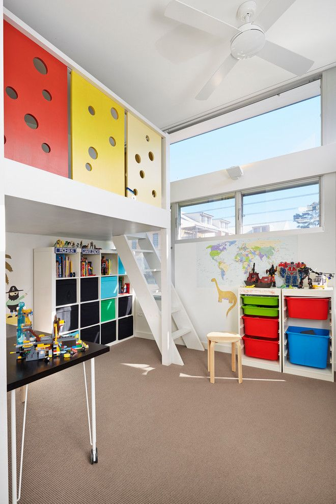Trofast Ikea for a Contemporary Kids with a Play Room and the Open House by Elaine Richardson Architect