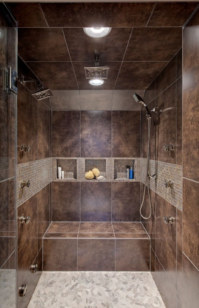 Vienna Waits for You for a Contemporary Bathroom with a Handheld Shower Head and Transitional Master Bath by Drury Design