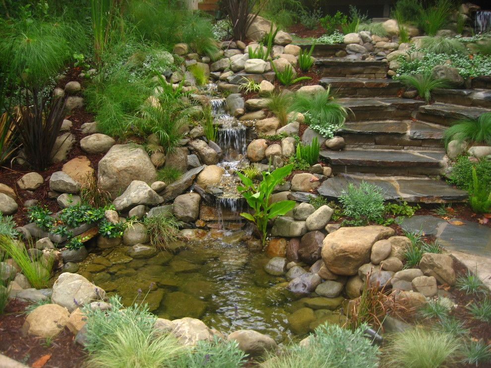 Water Gardens Pleasant Grove for a Contemporary Landscape with a Rock Garden and Water Features by Stout Design Build