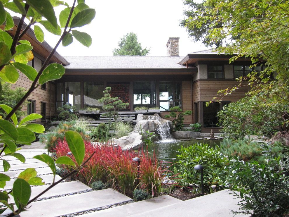 Water Gardens Pleasant Grove for a Contemporary Landscape with a Wood Panel and Woodvalley Residence by Gaile Guevara