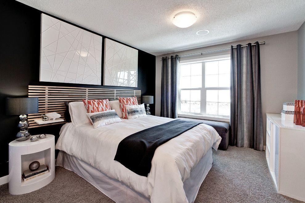 Westin Homes for a Contemporary Bedroom with a Nightstand and Samara (Previous Duplex Showhome) by Creations by Shane Homes by Shane Homes Ltd.