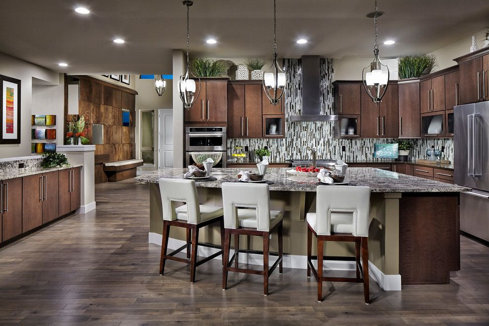 Westin Homes for a Contemporary Kitchen with a Counter Stools and Northsky at Ridgegate by Godden Sudik Architects Inc