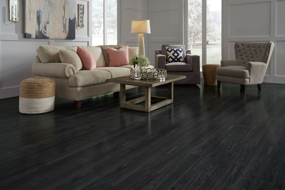 Westin Homes for a Contemporary Living Room with a Wood Coffee Table and St. James Collection by Dream Home - 12mm Rock Creek Charcoal Laminate Flooring by Lumber Liquidators