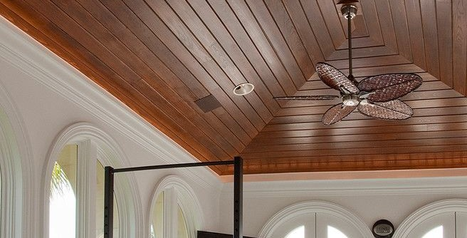 Westin Homes for a Mediterranean Home Gym with a Wood Ceiling and Custom Home in Westin, FL by Albanese Builders