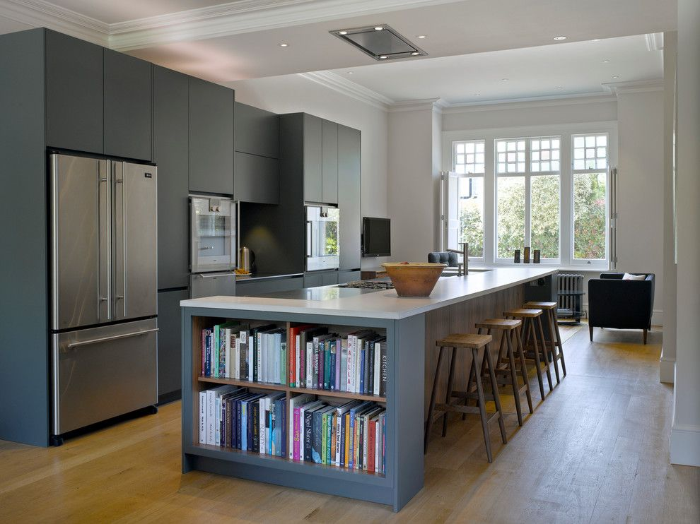 Westin Homes for a Transitional Kitchen with a Open Shelving in Kitchen Island and Roundhouse Blue Kitchens by Roundhouse