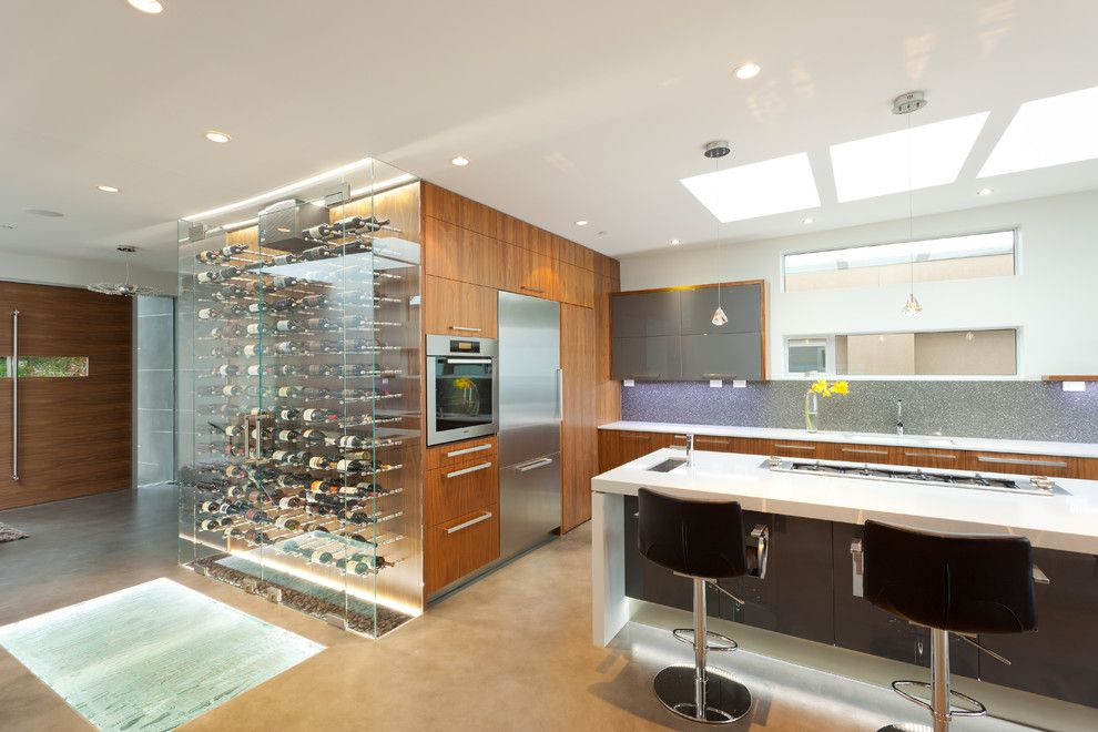Wine Cellar Los Gatos for a Contemporary Kitchen with a Wave Wall and the Wave House by Kbcdevelopments