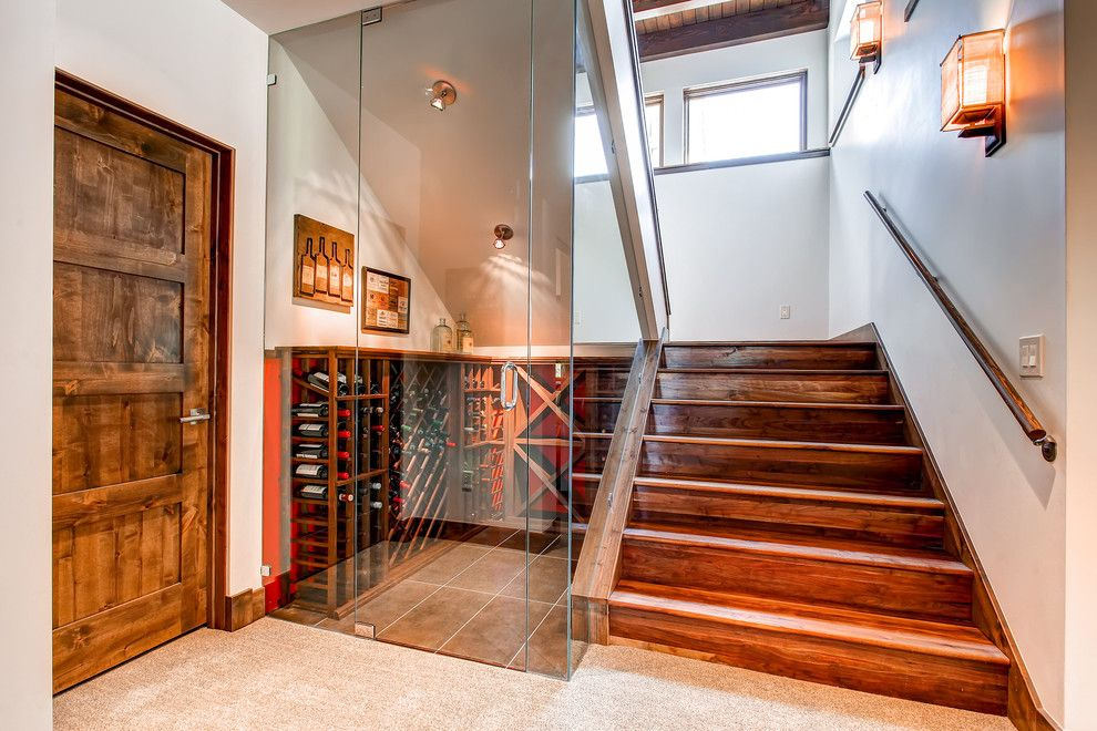 Wine Cellar Los Gatos for a Contemporary Staircase with a Japanese Sconce and 235 High Park Court   Wine Cellar by Pinnacle Mountain Homes
